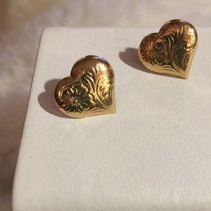 14 k gold heart earrings